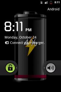 """Заставка """"батарейка"""" показывающая уровень аккумулятора для Андройд"""