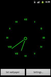 Часы на черном фоне - заставка для Андроид