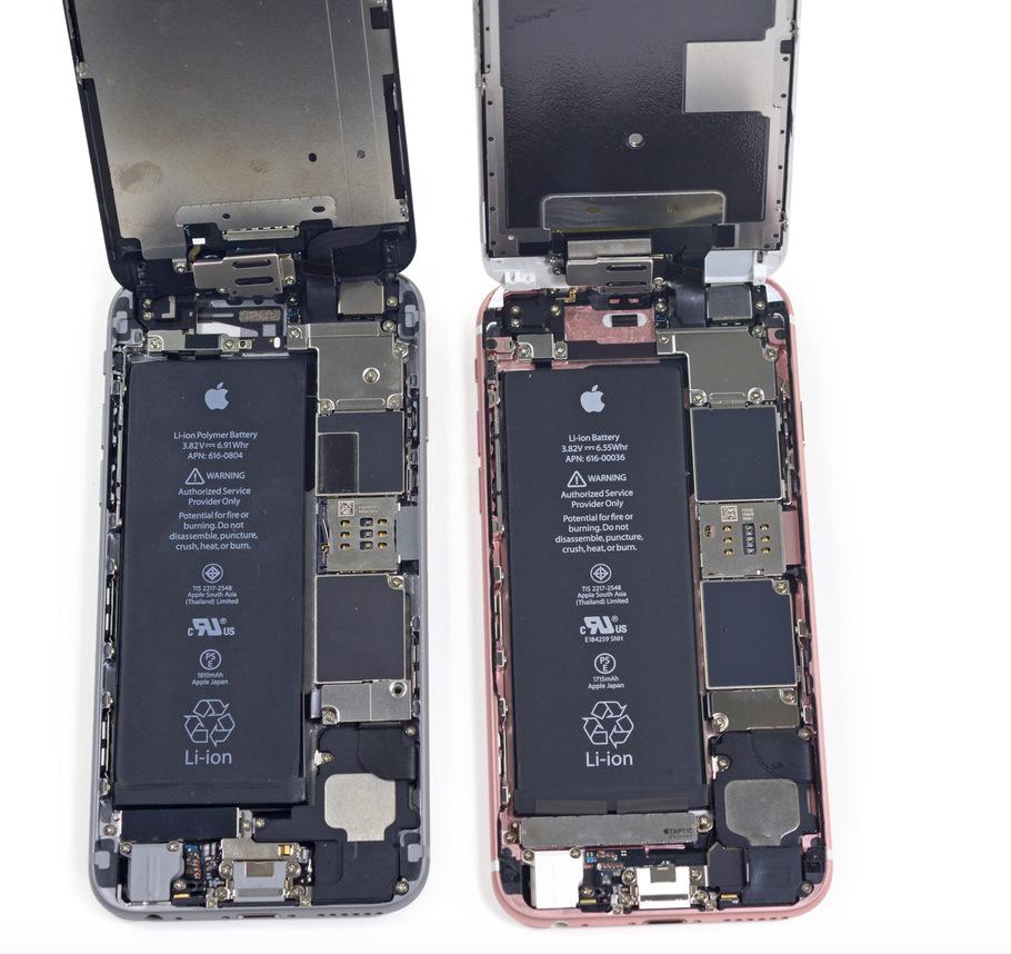 сравнение внутренностей iphone 6 и 6s