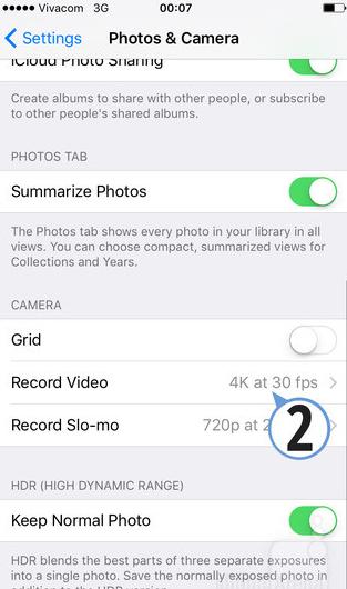 режим 4K на iPhone 6s
