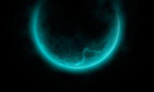 Бирюзовая подсветка луны